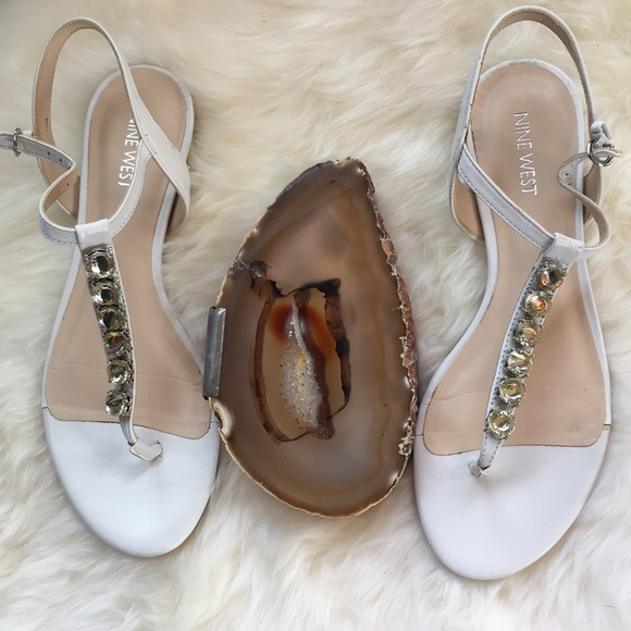 69be3ac63d35 White Nine West Leather Sandals. M 5a5bc4b772ea88f735ef560a
